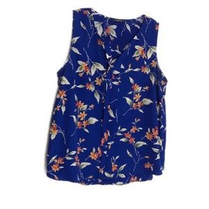 West Kei Blue Floral Sleeveless V-Neck Top XL